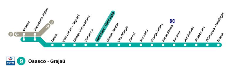 Mapa da Estação Pinheiros - Linha 9 Esmeralda da CPTM