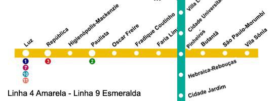 mapa da estação Faria Lima - linha 4 amarela do metrô